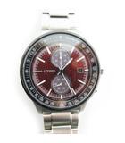 腕時計 ウォッチ シチズンコレクション 世界限定 2,200本 エコドライブ クロノグラフ デイト  CA7034-96W 電池交換不要 レッド ブラック シルバー 美品
