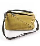ロエベ LOEWE ショルダーバッグ ハンドバッグ 肩掛け 斜め掛け パズル PUZZLE 2WAY スエード レザー ベージュ ブラウン 茶 ゴールド金具 鞄