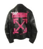 オフホワイト OFF WHITE ダブルライダースジャケット 革ジャン バックアロー レザー 黒 ブラック ピンク OMJG003R19485024 S アウター