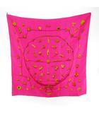 エルメス HERMES カレ90 スカーフ シルク ピンク イエローゴールド ビンテージ オールド レトロ 小物