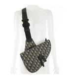 クリスチャンディオール Christian Dior サドルバッグ ボディーバッグ ショルダーバッグ 斜め掛け オブリーク トロッター ロゴ ネイビー ブラック 紺 黒 鞄 美品 20AW