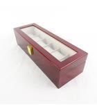 ジュエリーボックス 時計 ウォッチ 6本 箱 ケース 木製 ウッド 赤 レッド ゴールド金具 31.5cm×11cm×8cm