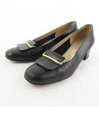 サルヴァトーレフェラガモ Salvatore Ferragamo パンプス ローヒール ラウンドトゥ 黒 ブラック ゴールド金具 レザー 7C 約24.5cm 靴