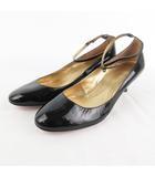 レベッカテイラー rebecca taylor パンプス ストラップ ラウンドトゥ ローヒール エナメル 黒 ブラック 24.5cm 靴