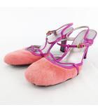 ジルスチュアート JILL STUART ミュール サンダル パンプス ファー ストラップ 24 1/2 ピンク パープル 紫 靴