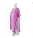 ワンピース ロング 半袖 サイド ロゴ リボン ライン パープル 紫 コットン