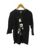 ロエン Roen Disney ディズニー Tシャツ 七分袖 ミッキー 黒 ブラック コットン 44 トップス