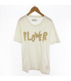 Tシャツ 半袖 FLOWER フラワー ロゴ 白 ホワイト ベージュ 46 10SS ここのえ株式会社