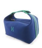 エルメス HERMES バニティ ポーチ ハンドバッグ ブリッド ア ブラック Hロゴ GM 紺 ネイビー 緑 グリーン シルバー金具 キャンバス 26cm×13cm×16cm 鞄