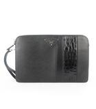 プラダ PRADA セカンドバッグ クラッチバッグ クロコ サフィアーノ レザー 黒 ブラック 鞄