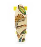 エルメス HERMES スケートボード デッキ チーター 花柄 フラワー 総柄 ウッド 木製 ナチュラル 置物 オブジェ 希少 レア