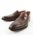サントーニ SANTONI コインローファー ビジネスシューズ 7086 レザー 茶 ブラウン 5 1/2 F 約25cm 革靴