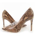 パンプス ヒール パイソン 蛇柄  ベージュ系 ゴールド金具 37 約24cm 靴