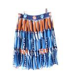 ツモリチサト TSUMORI CHISATO ティアードスカート シフォン 刺繍 シルク ターコイズブルー オレンジ 2 M NVW