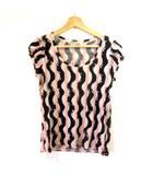 ツモリチサト TSUMORI CHISATO カットソー パフスリーブTシャツ 総柄 ブラック ピンク NVW