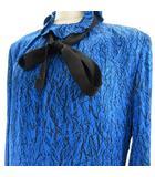 クリスチャンディオール Christian Dior pret-a porter 希少 高級 ヴィンテージ ドレスワンピース 長袖 膝丈 シルク100% リボン 総柄 青 ブルー 9 約M SSS8