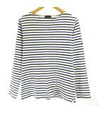 バーニーズニューヨーク BARNEYS NEW YORK Tシャツ カットソー ロンT 長袖 ボーダー 星 スター 刺繍 白 ホワイト 青 ブルー M