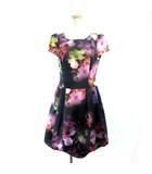 エムズグレイシー M'S GRACY バルーンワンピース ドレス 花柄 転写プリント レッド 黒 ブラック 40 M