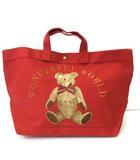 ワンダフルワールド WONDERFUL WORLD ハンドバッグ 舟形トートバッグ ロゴ刺繍 クマ刺繍 赤 レッド カネコイサオ
