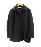 ステンカラーコート イタリア製 ウール 黒 ブラック