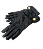 コーチ COACH 手袋 グローブ シグネチャー柄 レザー 裏地カシミヤ100% 黒 ブラック 7 1/2 IBO3