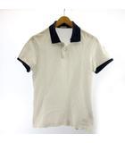 モンクレール MONCLER ポロシャツ 半袖 MAGLIA POLO ワンポイント刺繍 S 白 ホワイト 紺 ネイビー IBO7