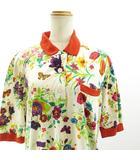 グッチ GUCCI ヴィンテージ ワンピース フローラル 花柄 半袖 胸ポケット M 白 マルチカラー ECR7