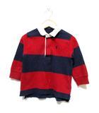 ラルフローレン RALPH LAUREN ベビー ポロシャツ カットソー ラガーシャツ 長袖 ボーダー ロゴ刺繍 ネイビー 赤 90