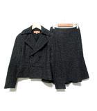 スーナウーナ Sunauna スーツ セットアップ ジャケット テーラード 長袖 ツイード 起毛 スカート ひざ丈 黒系 36