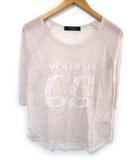チャオパニック CIAOPANIC Tシャツ カットソー 薄手 ロゴ 七分袖 リネン混 ベージュ系 F