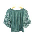 レイカズン Ray cassin ブラウス カットソー オフショルダー 刺繍 七分袖 緑系 F