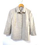 バーバリー ロンドン BURBERRY LONDON ジャケット 7分袖 ステンカラー ウール 絹 シルク 無地 ベージュ 38