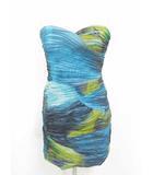 ビーシービージーマックスアズリア BCBGMAXAZRIA ドレス ワンピース パーティードレス 総柄 青 4