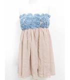 ルシェルブルー LE CIEL BLEU ワンピース ドレス チューブトップ デニム シフォン 青 ピンク F