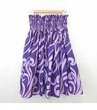 ALOHA STANDARDS フラダンス 衣装 スカート パウスカート ひざ丈 シャーリング プリント パープル系 紫