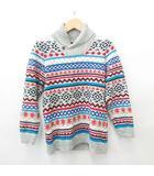 ニット セーター 長袖 ショールカラー 編み込み 幾何柄 マルチカラー 綿 グレー 170