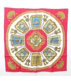 エルメス HERMES カレ 90 Poste et Cavalerie サーベル飾り袋 スカーフ レッド ホワイト