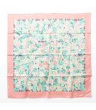 エルメス HERMES カレ 90 L'ARBRE de SOiE 絹の木 桑の木と蚕 スカーフ 蚕 蛾 幼虫 マルベリー シルク ピンク グリーン