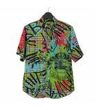 バーバリー BURBERRY 18AW グラフィティ プリント チェックシャツ 半袖 M グリーン 緑