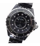 シャネル CHANEL J12 H1629 腕時計 ブラック文字盤 ブラックセラミック 12P ダイヤ 38mm ブラック 黒