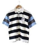 アベイシングエイプ A BATHING APE BAPE ポロシャツ 半袖 ボーダー 白 黒 M /DE3