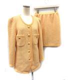 フォクシー FOXEY スーツ セットアップ 上下 ジャケット スカート 40 オレンジ /KH ■CA25