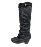 ミスターミニット MISTER MINIT ブーツ ロング ヒール レースアップ レザー 23.5 黒 ブラック /NT28 ■CA