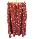 サマンサモスモス SM2 フレアー スカート ロング 花柄 濃茶 ダークブラウン M