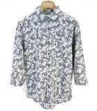 バックナンバー BACK NUMBER シャツ 七分袖 カモフラ 迷彩柄 総柄 M グレー