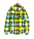 SLQ ジャケット スポーツ スキー スノーボード ウェア フーデッド チェック S グリーン イエロー ブラウン 緑 黄 茶