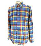 ソフネット SOPHNET. ボタンダウン ライト ネルシャツ フランネル シャツ 長袖 コットン 綿100% M マルチカラー ブルー 青