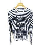 デシグアル Desigual Tシャツ カットソー 長袖 ボーダー プリント 紺 白 ネイビー ホワイト L