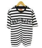 シュプリーム SUPREME 美品 Tシャツ カットソー 半袖 クルーネック ロゴ ボーダー 白 黒 ホワイト ブラック S
