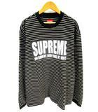 シュプリーム SUPREME 美品 THIN STRIPE L/S TOP Tシャツ カットソー 長袖 ボーダー ロゴ 黒 ブラック S
